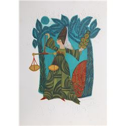 Judith Bledsoe, Libra, Zodiac of Dreams Series, Lithograph with Embossing