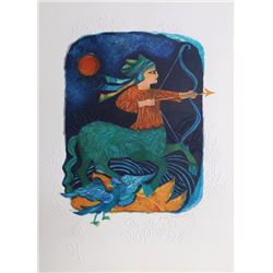 Judith Bledsoe, Sagittarius, Zodiac of Dreams Series, Lithograph with Embossing
