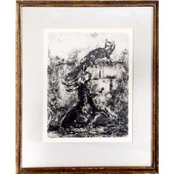 Marc Chagall, The Fox and the Ram, Plate 31 from Les Fables de la Fontaine, Etching
