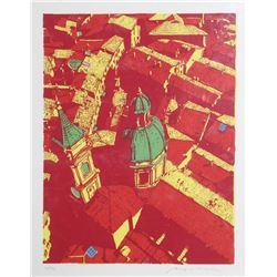 Biagio Civale, Roofs of Bologna (Red), Serigraph
