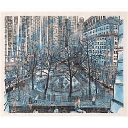 Ted Davies, Broadway at Bowling Green, Woodcut