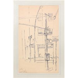 Charles Blaze Vukovich, Signs Rock Plaza, Ink Drawing