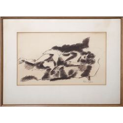 Chaim Gross, Reclining Nude on Plaid Couch, Charcoal Drawing
