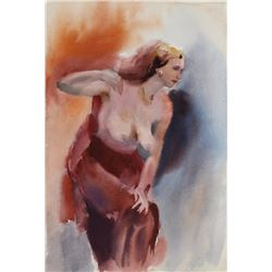Eve Nethercott, Posing Nude, Watercolor Painting