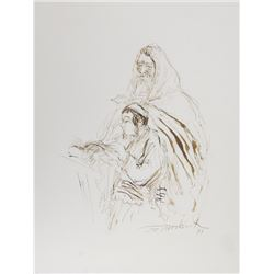 Ira Moskowitz, Rabbi with Student, Ink Drawing