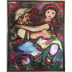 Jovan Obican, Grandfather and Granddaughter Dancing, Oil Painting