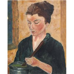 Unknown, Portrait of a Woman Making Soup, Oil Painting