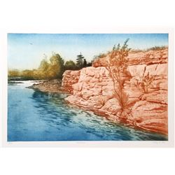 Harvey Kidder, Red Rock, Aquatint Etching