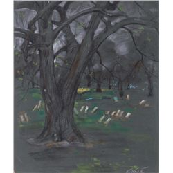 Kamil Kubik, Chairs in the Park, Pastel Drawing