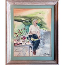 Marshall Goodman, Self-Portrait on Garden Patio, Watercolor Painting