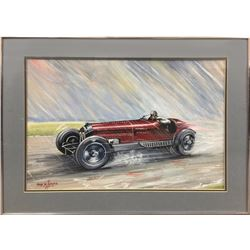John W. Burgess, Alfa in the Rain (Alfa Romeo Racing), Tempera and Watercolor Painting