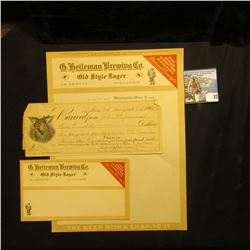 """G. Heileman Brewing Co. Old Style Lager La Crosse, Wisconsin"" Envelope and Stationery, mint, unused"