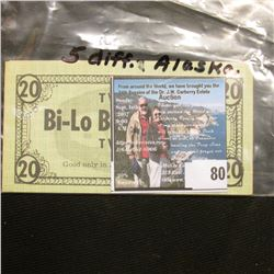 "(5) Different Food Coupons ""Bi-Lo Bonus Bucks…Good only in Alaska…""."