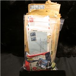 (6) Bags of Stamp Hinges; & a nice selection of unusual Postmarked or stamped Covers (50-100 pcs.)