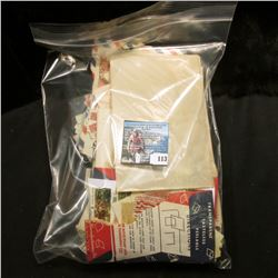 Large Ziplock Bag full of Old Postage Stamps including a Plate block of Knute Rockne .22c Stamps in