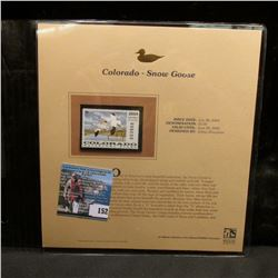 2004 Colorado $5 Waterfowl Stamp in mint, unused Pristine condition in a neat plastic page with lite