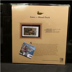 2004 Iowa $8.50 Waterfowl Stamp in mint, unused Pristine condition in a neat plastic page with liter
