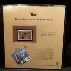 2004 Kentucky $7.50 Waterfowl Stamp in mint, unused Pristine condition in a neat plastic page with l