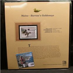 2004 Maine $8.50 Waterfowl Stamp in mint, unused Pristine condition in a neat plastic page with lite