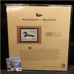 2004 Massachusetts $5 Waterfowl Stamp in mint, unused Pristine condition in a neat plastic page with