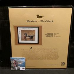 2004 Michigan $5 Waterfowl Stamp in mint, unused Pristine condition in a neat plastic page with lite