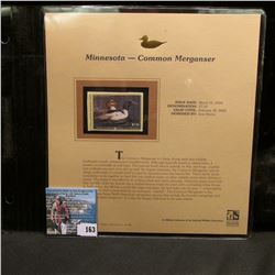 2004 Minnesota $7.50 Waterfowl Stamp in mint, unused Pristine condition in a neat plastic page with