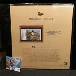 2004 Oklahoma $10 Waterfowl Stamp in mint, unused Pristine condition in a neat plastic page with lit