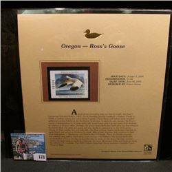 2004 Oregon $7.50 Waterfowl Stamp in mint, unused Pristine condition in a neat plastic page with lit