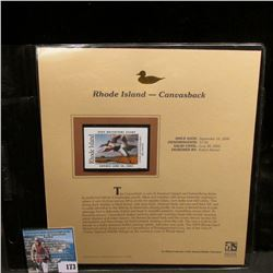 2004 Rhode Island $7.50 Waterfowl Stamp in mint, unused Pristine condition in a neat plastic page wi