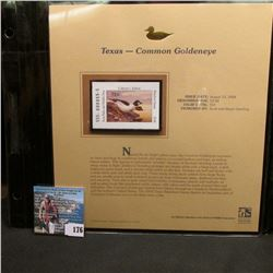 2004 Texas $3 Waterfowl Stamp in mint, unused Pristine condition in a neat plastic page with literat