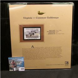2004 Virginia $5 Waterfowl Stamp in mint, unused Pristine condition in a neat plastic page with lite