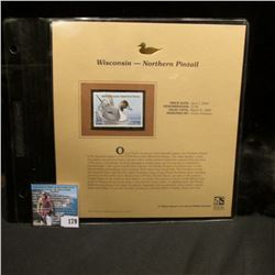 2004 Wisconsin $7.00 Waterfowl Stamp in mint, unused Pristine condition in a neat plastic page with