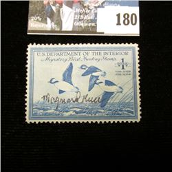 1948 RW15 U.S. Department of the Interior Migratory Bird Hunting Stamp, light hinge, signed by the a