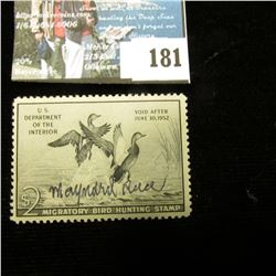 1951 RW18 U.S. Department of the Interior Migratory Bird Hunting Stamp, light hinge, signed by the a