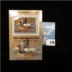 2008 RW75B U.S. Department of the Interior Migratory Bird Hunting $15 Stamp, Artist signed Pane,