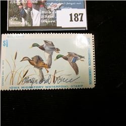 "1978 Iowa Migratory Waterfowl Stamp, Depicts Mallards, Artist signed by ""Maynard Reece""."