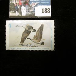 "1974 Iowa Migratory Waterfowl Stamp, Depicts Canada Geese, Artist signed by ""Mark Reece""."