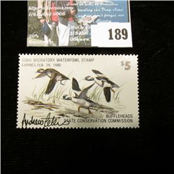 "1979 Iowa Migratory Waterfowl Stamp, Depicts Buffle heads, Artist signed by ""Andrew Peters"". Perfs a"