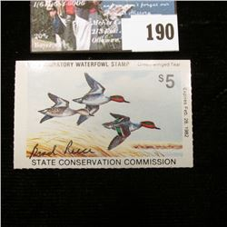 "1981 Iowa Migratory Waterfowl Stamp, Depicts Green Winged Teal, Artist signed by ""Brad Reece""."