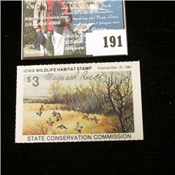 "1980 Iowa Wildlife Habitat Stamp State Conservation Commission, Artist Signed ""Maynard Reece""."