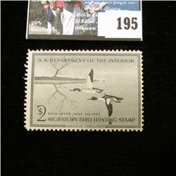 1956 RW23 U.S. Department of the Interior Migratory Bird Hunting Stamp, Original gum, not signed. De