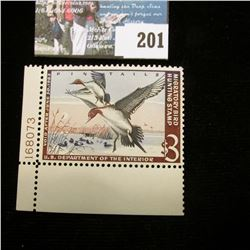 1962 RW29 U.S. Department of the Interior Migratory Bird Hunting Stamp, Pane number single LL corner