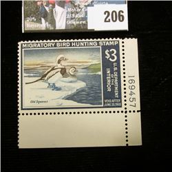 1967 RW34 U.S. Department of the Interior Migratory Bird Hunting Stamp, Pane Number single LR corner