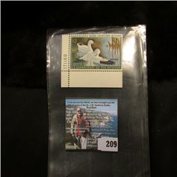 1970 RW37 U.S. Department of the Interior Migratory Bird Hunting Stamp, original gum, LL Corner plat