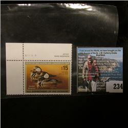 2005 RW72 U.S. Department of the Interior Migratory Bird Hunting $15.00  UL Pane Number single Stamp