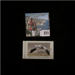 2001 No.30 Iowa Migratory Waterfowl Stamp State Conservation Commission, Mint condition, Unsigned, V