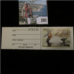 1988 No. 10a Missouri Department of Conservation Waterfowl Stamp, unsigned, NH, Very Fine. Complete