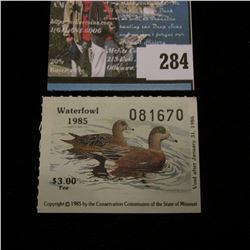 1985 No. 7 Missouri Department of Conservation Waterfowl Stamp, unsigned, NH, Very Fine.