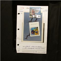 "1994 $10 Marine Conservation and Safety U.S.A. Ten Dollars ""Diamond Reef"" Stamp labeled ""Sample"" and"