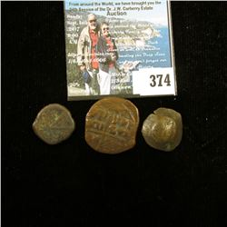 (3) Early Byzantine Copper Coins, I am unable to attribute this group. I will leave it to you.
